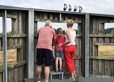 Eine Familie steht auf einer hölzernen Aussichtsplattform mit einem Fernrohr und beobachtet Vögel in einem Naturreservat. Auf dem Holzverschlag sitzen bunte Stahlvögel.